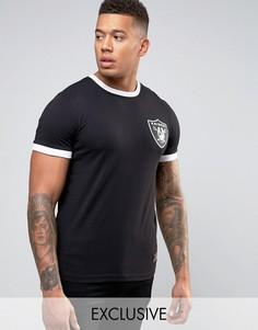Удлиненная футболка Majestic Raiders Ringer эксклюзивно для ASOS - Черный