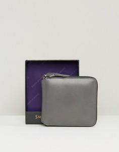 Кожаный бумажник на молнии Smith and Canova - Серый