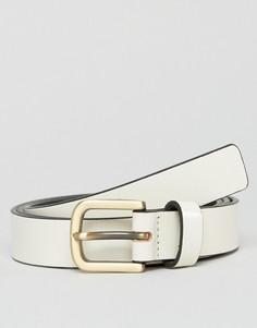 Белый кожаный ремень скинни Smith And Canova - Белый