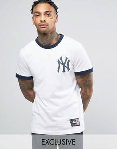 Длинная футболка Majestic New York Yankees Ringer эксклюзивно для ASOS - Белый