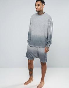 Махровые шорты с эффектом деграде и заниженным шаговым швом ASOS - Серый
