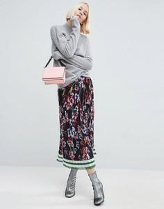 Плиссированная юбка миди с принтом ASOS - Мульти