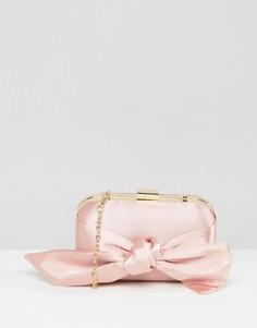 Атласный клатч с бантом ASOS WEDDING - Розовый