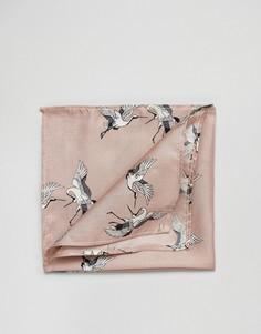 Шелковый платок для нагрудного кармана с принтом ASOS - Розовый