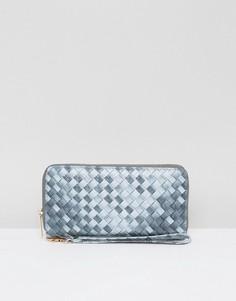 Плетеный кошелек на молнии Yoki - Серый