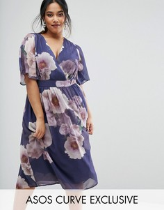 Платье миди с цветочным принтом ASOS CURVE SALON - Мульти