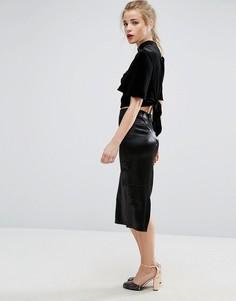Атласная юбка миди New Look - Черный