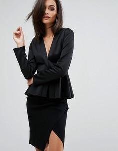 Пиджак с плиссированной баской Club L Office - Черный