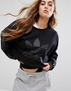 Черный свитшот с полупрозрачными вставками adidas Paris - Черный