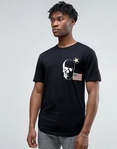 Длинная футболка с нашивками и асимметричным краем Only & Sons - Черный