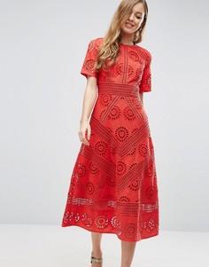 Платье миди с вышивкой ришелье ASOS PREMIUM - Красный