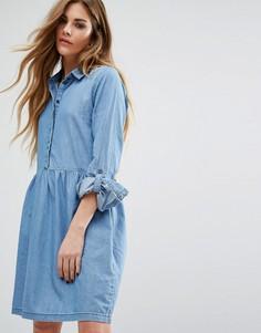 Джинсовое короткое приталенное платье Noisy May - Синий