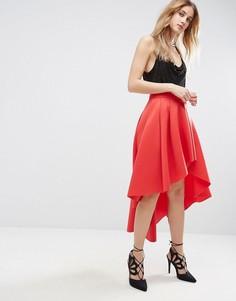 Юбка миди для выпускного асимметричной длины ASOS - Красный