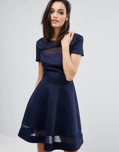 Приталенное платье с сетчатой вставкой Club L Office - Темно-синий
