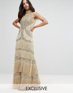Платье макси с высокой горловиной, отделкой и бахромой A Star Is Born - Золотой