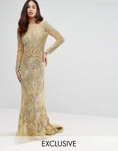 Сетчатое платье макси с декоративной отделкой A Star Is Born - Золотой