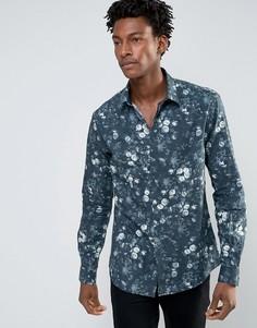 Зауженная рубашка с цветочным принтом Noose & Monkey - Зеленый