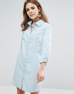 Джинсовое платье-рубашка с длинным рукавом Liquorish - Синий