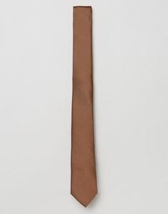 Узкий галстук из фактурной красно-бурой ткани ASOS - Коричневый