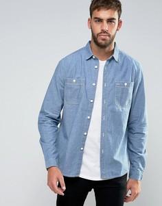 Джинсовая рубашка классического кроя из шамбре ASOS - Синий