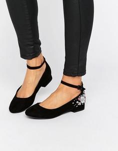 Туфли на плоской подошве с вышивкой New Look - Черный