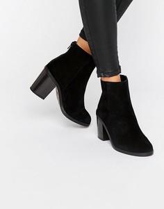 Замшевые ботинки на блочном каблуке New Look - Черный
