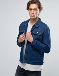 Джинсовая куртка на подкладке в полоску Brixton Harlan - Синий