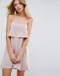 Платье-бандо мини с кроп-топом ASOS - Бежевый