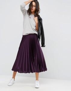 Плиссированная атласная юбка миди ASOS - Фиолетовый