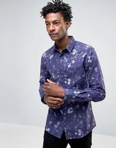 Зауженная рубашка с цветочным принтом Noose & Monkey - Синий