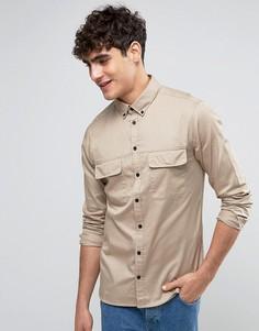 Рубашка классического кроя в стиле милитари Casual Friday - Бежевый