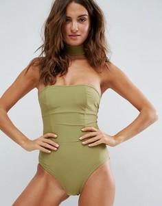 Слитный купальник с чокером Boohoo - Зеленый