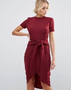 Бордовое платье миди с короткими рукавами и поясом Club L Office - Красный