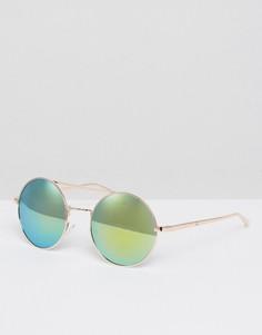 Солнцезащитные очки с круглыми зеркальными стеклами AJ Morgan - Золотой