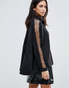 Рубашка с ажурными рукавами Liquorish - Черный