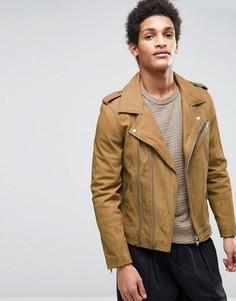 Кожаная байкерская куртка светло-коричневого цвета Casual Friday - Бежевый