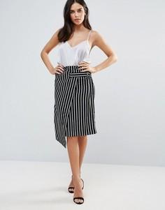 Черно-белая юбка в полоску с запахом Liquorish - Мульти
