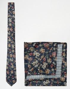 Галстук с цветочным принтом и платок паше темно-синей расцветки ASOS - Темно-синий