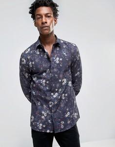 Зауженная рубашка с цветочным принтом Noose & Monkey - Темно-синий