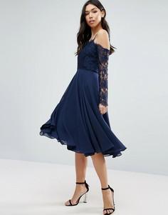 Кружевное платье миди с длинными рукавами ASOS Kate - Темно-синий