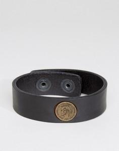 Черный кожаный браслет Diesel A-Shoot - Черный