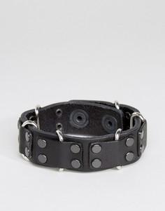 Кожаный браслет с заклепками Diesel A-Carez - Черный