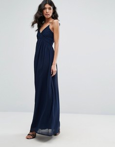 Шифоновое платье макси с V-образным вырезом и плиссировкой Club L - Темно-синий