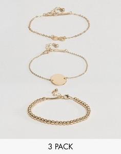 Набор из 3 браслетов-цепочек с подвеской ASOS - Золотой