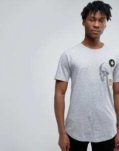 Длинная футболка с нашивками и асимметричным краем Only & Sons - Серый