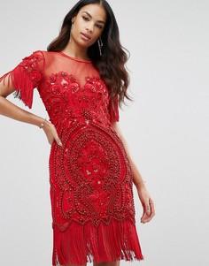 Декорированное платье мини с бахромой A Star Is Born - Красный