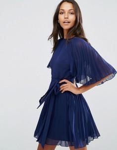 Плиссированное платье мини ASOS - Темно-синий