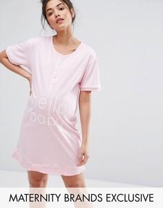 Ночная рубашка для беременных с пуговицами спереди Emma Jane Maternity - Розовый