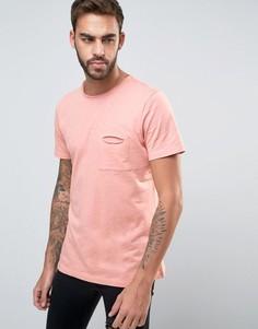 Меланжевая футболка с необработанными краями и карманом Another Influence - Розовый