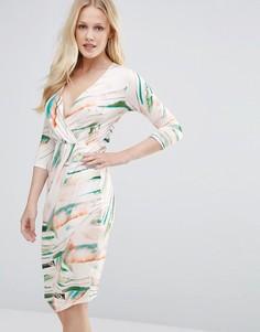 Платье с V-образным вырезом и драпировкой Closet - Мульти